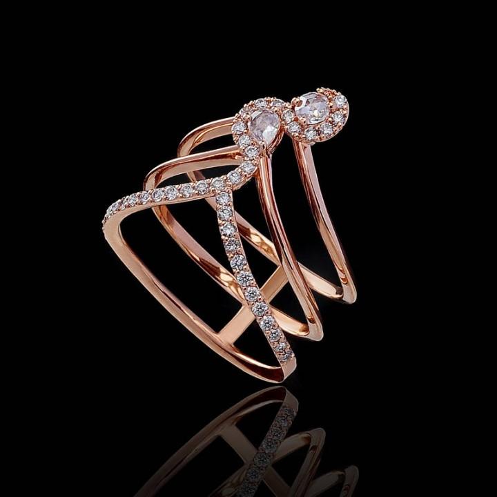 Золотое кольцо Leaderline тройная дорожка с бриллиантами
