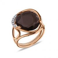 Золотое кольцо Jjewels Milano c дымчатым кварцем и бриллиантами
