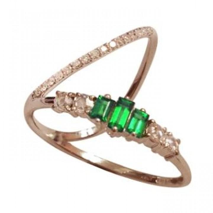 Золотое кольцо Leaderline Milano c цаворитом и бриллиантами элегантное