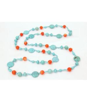 Бирюзово- коралловое ожерелье 150 см