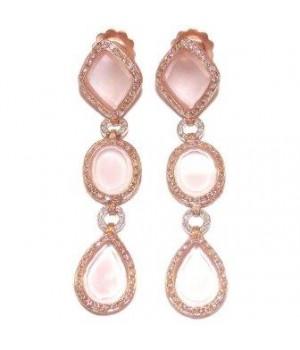 Золотые серьги JJewels Milano с розовым кварцем