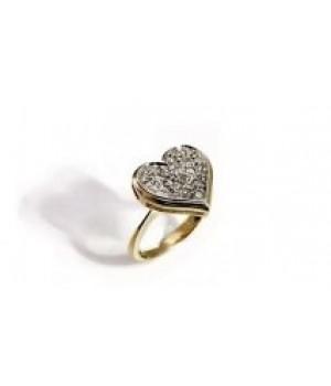 Золотое кольцо Agemina c коньячными бриллиантами в форме сердца