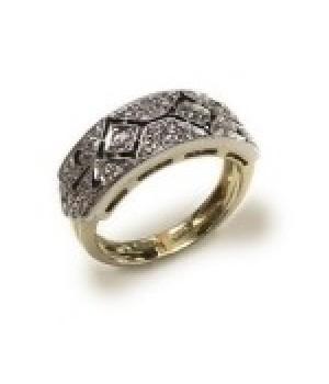 Золотое кольцо Agemina в винтажном стиле с коньячными бриллиантами резное