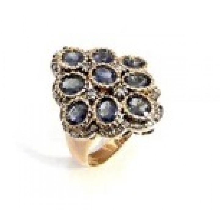 Золотое кольцо Agemina  сапфировый ромб c коньячными бриллиантами