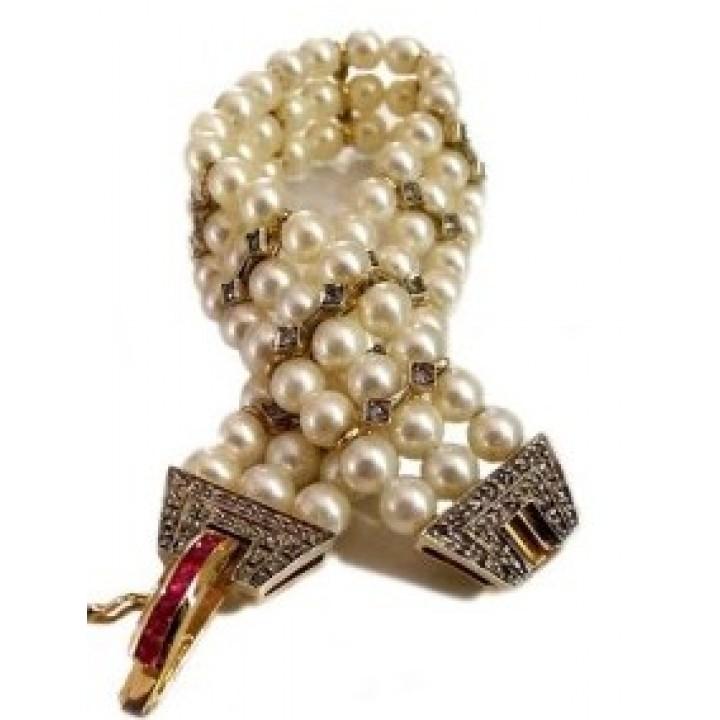 Золотой браслет Agemina c рубином и жемчугом в винтажном стиле
