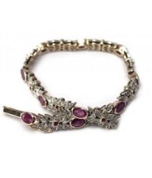 Золотой браслет Agemina рубиновый винтаж