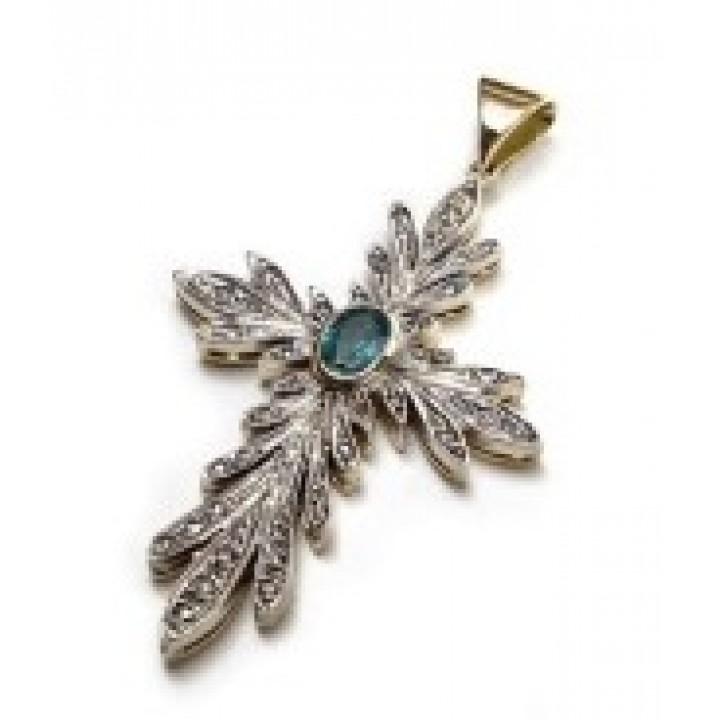 Золотоая подвеска Agemina  с изумрудом и коньячными бриллиантами в винтажном стиле