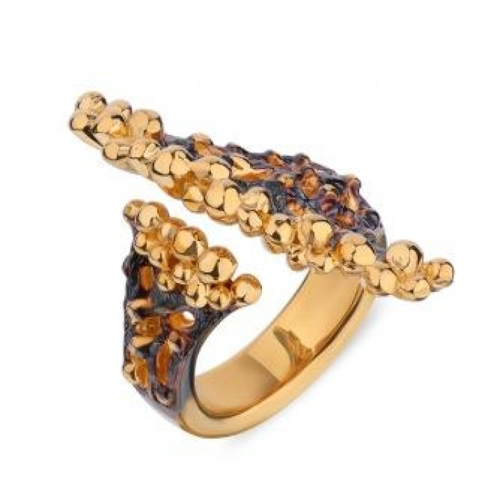 Серебряное кольцо Igor Kalita в  черно-золотом родировании  веер  открытое