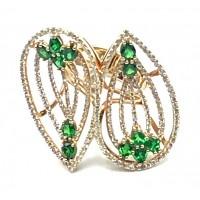 Золотое кольцо Jjewels Milano  двойной лист с цаворитами и бриллиантами