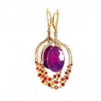 Золотые серьги Jjewels Milano с рубинами