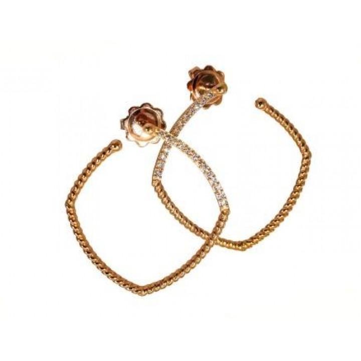 Золотые серьги Leaderline прямоугольные с бриллиантами