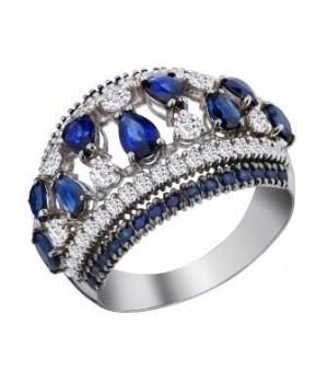 Золотое кольцо Igor Kalita с сапфирами и бриллиантами в форме чалмы