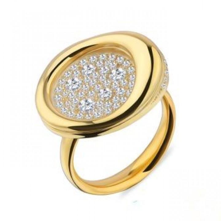 Серебряное кольцо Comero Group c кристаллами в золотом родировании