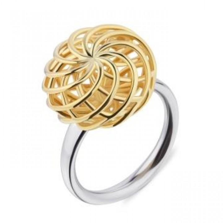Серебряное кольцо Comero Group в желтом родировании витиеватый узор