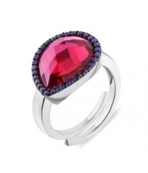 Серебряное кольцо Comero Group с горным хрусталем бордового цвета