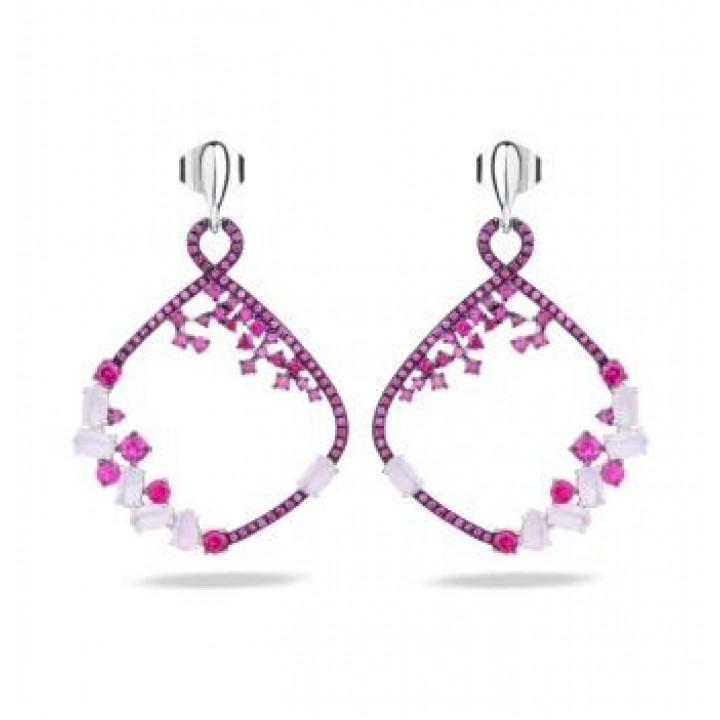 Серебряные серьги Comero group Blossom collection с кристаллами бордового и розового цвета