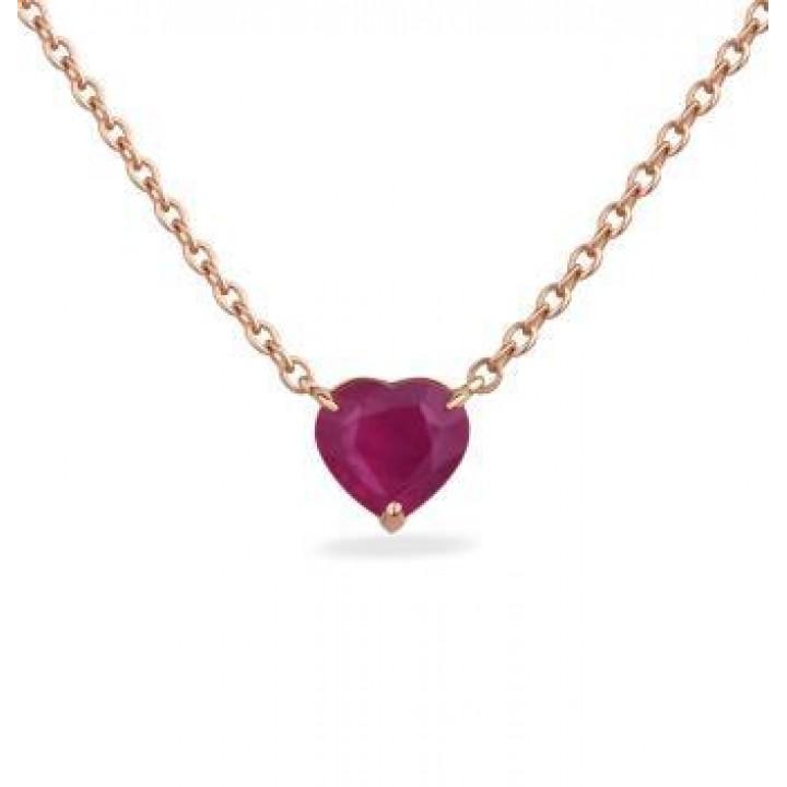 Золотой подвес Ugo Longobardo c рубином в форме сердца