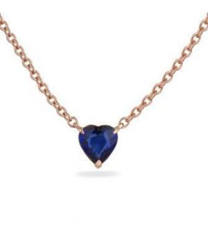 Золотое колье Ugo Longobardo с синим сапфиром в форме сердца
