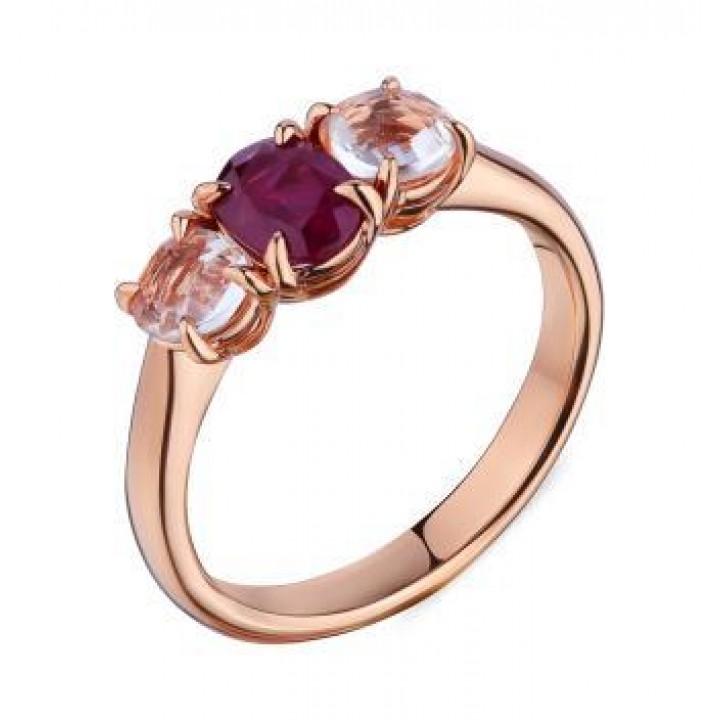 Золотое кольцо Ugo Longobardo c рубином и бриллиантами