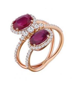 Золотое кольцо Ugo Longobardo c двумя  рубинами в инкрустации бриллиантов
