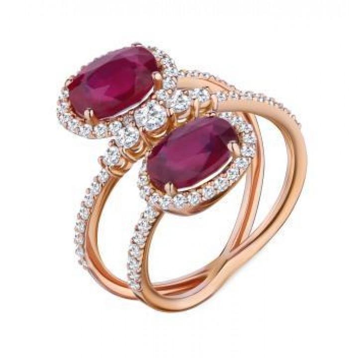 Золотое кольцо Ugo Longobardo c двумя  рубинами в инкрустации бриллиантов  Золотое кольцо Ugo Longobardo c двумя  рубинами в инкрустации бриллиантов