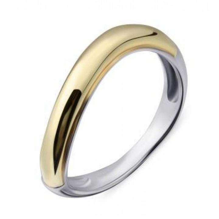 Серебряное кольцо Comero Group минималистичное гладкое желто-белое