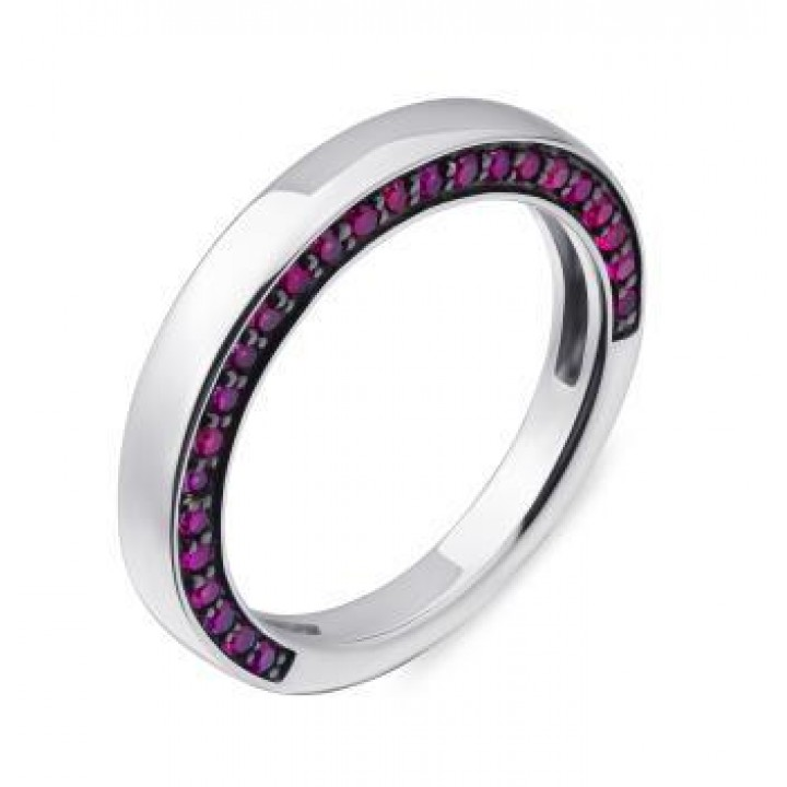 Серебряное кольцо  Comero group минималистичное с кристаллами бордового цвета