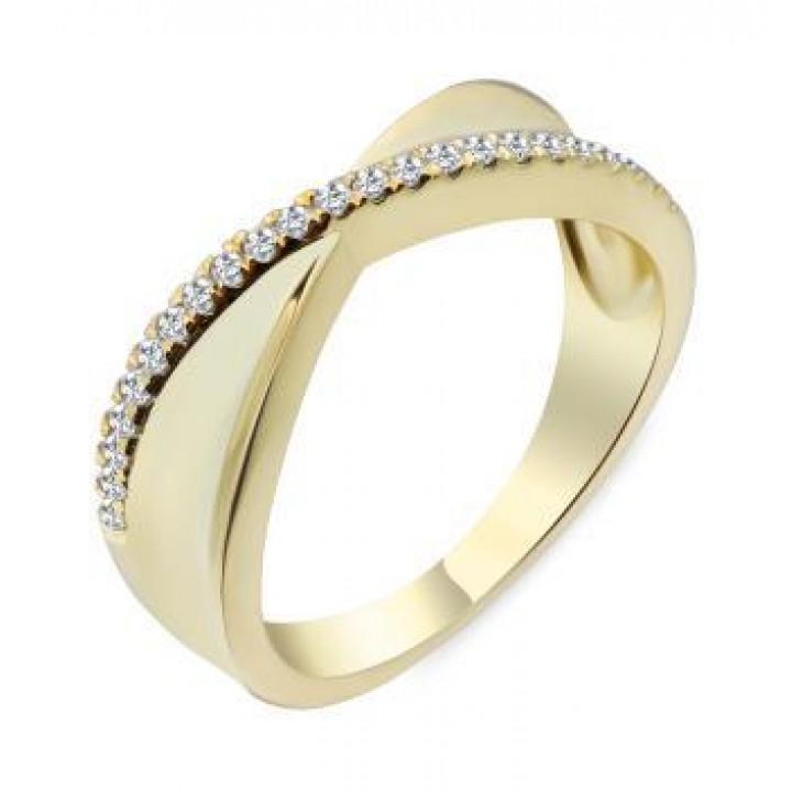 Серебряное кольцо  Comero group в желтом родировании перекрученное с дорожкой из кристаллов