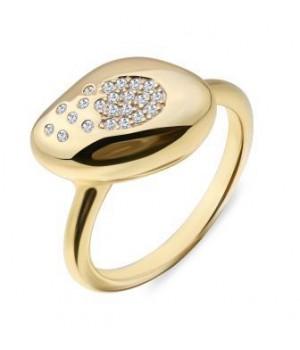 Серебряное кольцо  Comero group в желтом родировании с россыпью кристаллов
