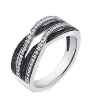 Серебряное кольцо Comero Group  перекрученное с белыми и черными кристаллами