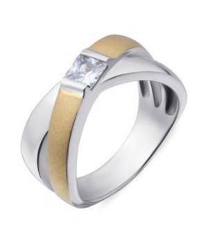 Серебряное кольцо Comero Group с кристаллом и декоративной полосой