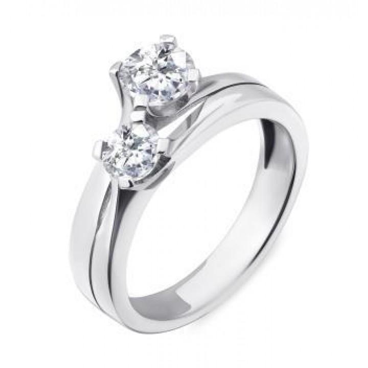 Серебряное кольцо Comero Group c двумя кристаллами