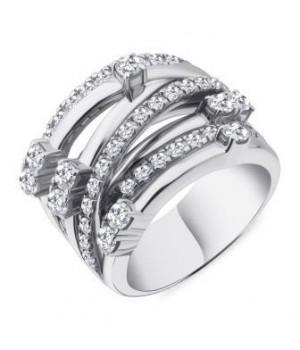 Серебряное кольцо Comero Group плетенка с кристаллами
