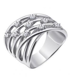 Серебряное кольцо  Comero group многослойное витиеватое с кристаллами