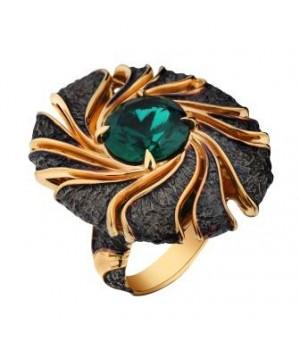 Серебряное  кольцо Igor Kalita c гидротермальным изумрудом  в золотом родировании