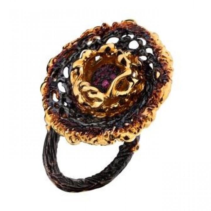 Серебряное кольцо  Igor Kalita  кружево с родолитом
