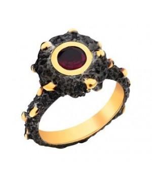 Серебряное  кольцо Igor Kalita c родолитом в золотом родировании минималистичный дизайн