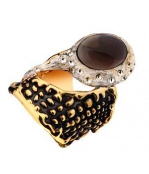 Серебряное кольцо Igor Kalita в золотом родировании с дымчатым кварцем