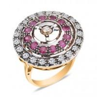 Золотое кольцо Agemina c коньячными бриллиантами и рубинами