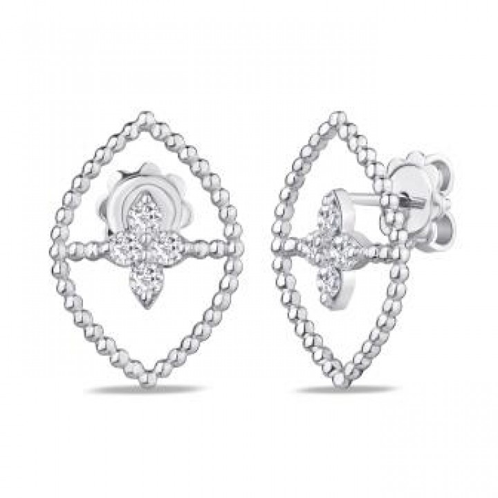 Золотые серьги Jjewels Milano в белом золоте с бриллиантами в форме ромба