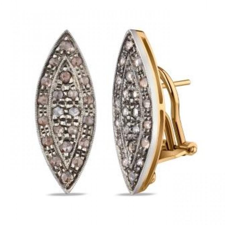 Золотые  серьги Agemina с коньячными бриллиантами маркиз
