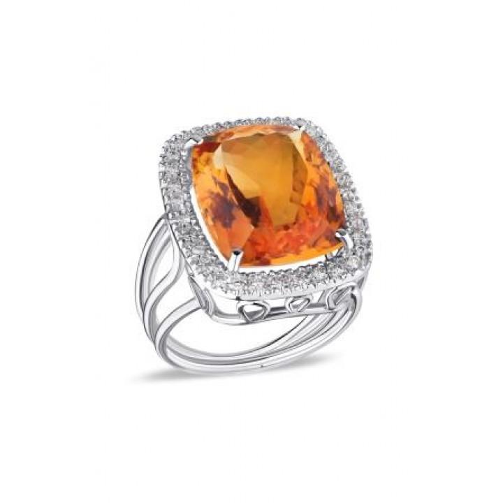 Золотое кольцо Ugo Longobardo c цитринами и бриллиантами