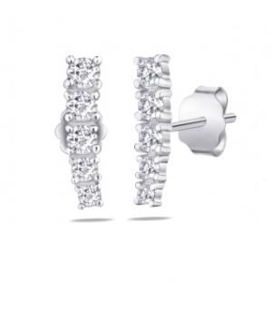 Золотые серьги Leaderline бриллиантовая линия