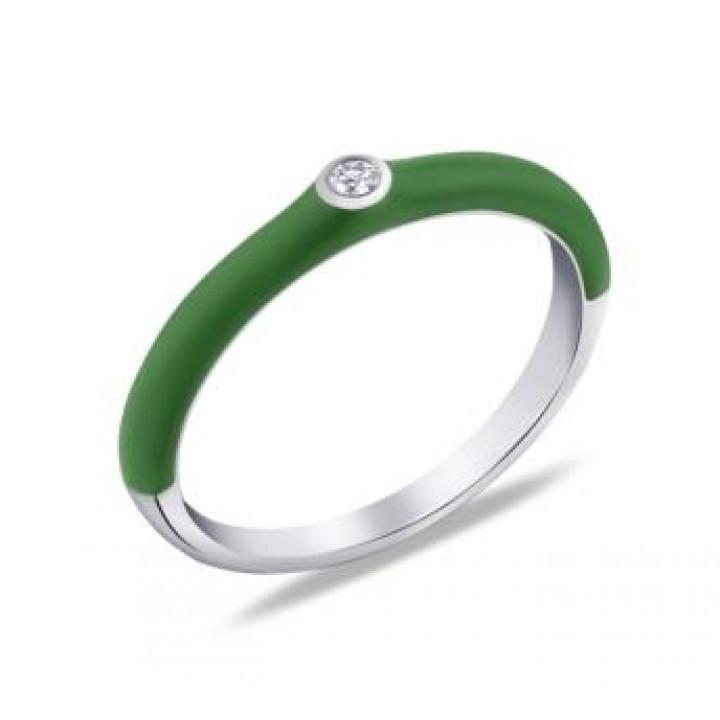Серебряное кольцо Comero Group c зеленой эмалью