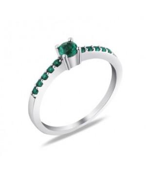 Серебряное кольцо Comero Group с зелеными кристаллами