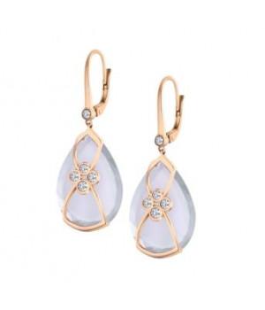 Золотые серьги Jjewels Milano с розовым кварцем и бриллиантами.