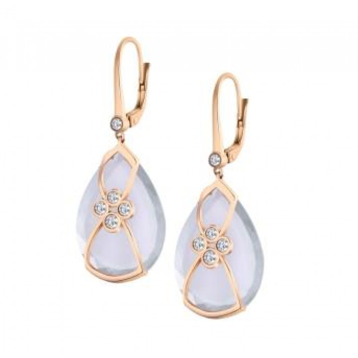 Золотые серьги Jjewels Milano с розовым кварцем и бриллиантами