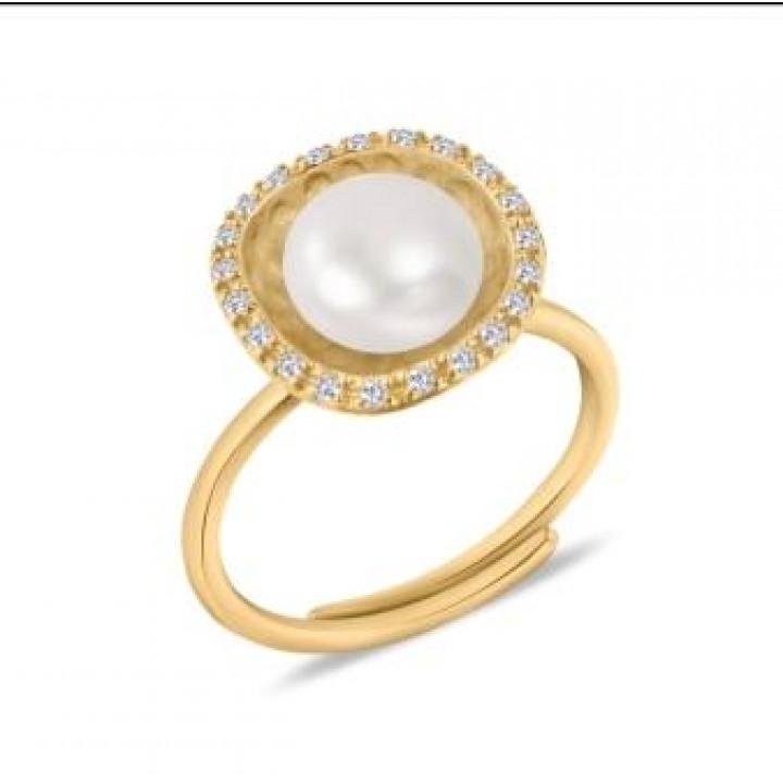 Серебряное кольцо Comero Group c жемчугом в форме цветка