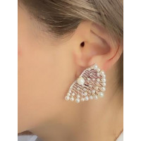 Золотые серьги Jjewels Milano бабочки с жемчугом и бриллиантами