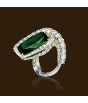 Золотое кольцо Jjewels Milano c зеленым турмалином(верделит)